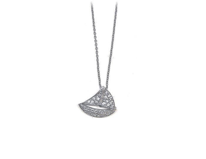 Roberto Coin Tiny Treasure Collection round brilliant cut diamond sailboat pendant in 18k white gold.