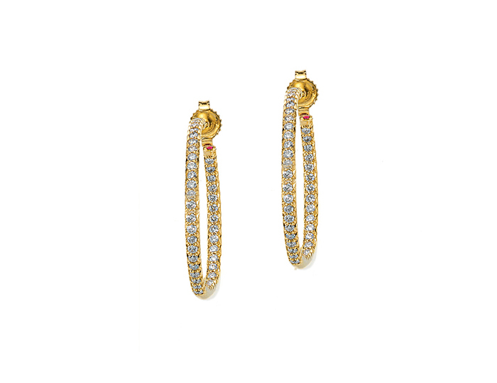 Roberto Coin round brilliant cut diamond hoops in 18k yellow gold.