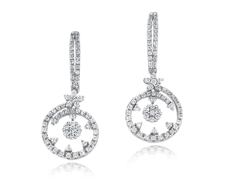 Roberto Coin round brilliant cut diamond earrings in 18k white gold.