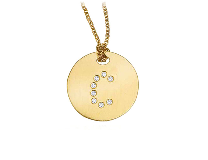 Roberto Coin Tiny Treasure Collection diamond initial pendant in 18k yellow gold.