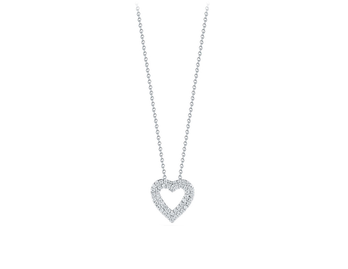 Roberto Coin Tiny Treasure Collection diamond heart pendant in 18k white gold.