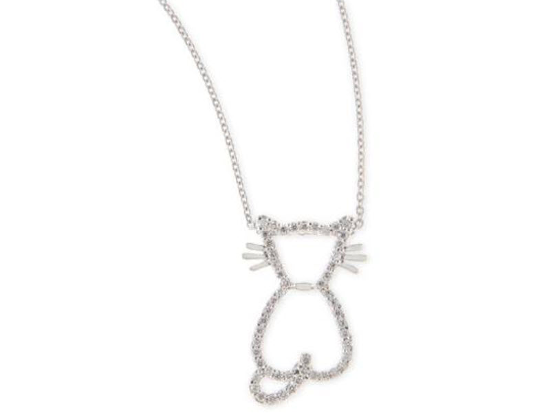 Roberto Coin Tiny Treasure Collection round brilliant cut diamond cat pendant in 18k white gold.