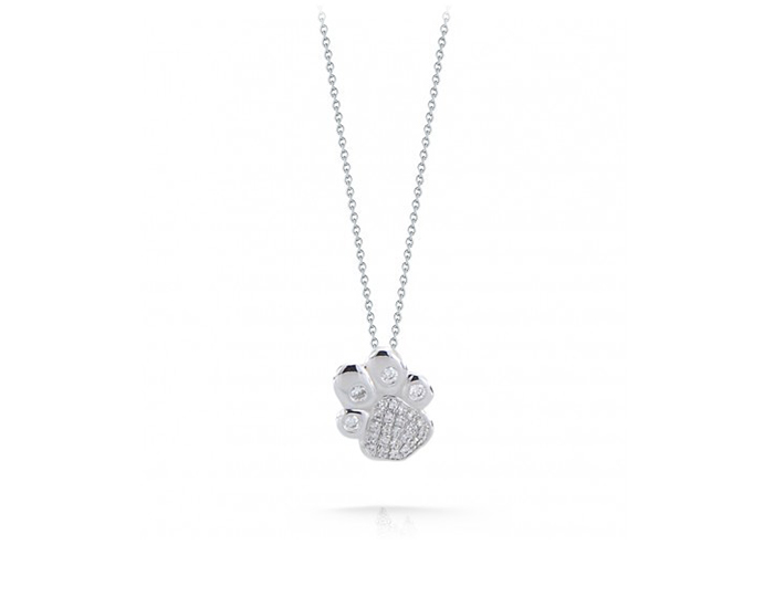 Roberto Coin Tiny Treasures Collection round brilliant cut pendant in 18k white gold.