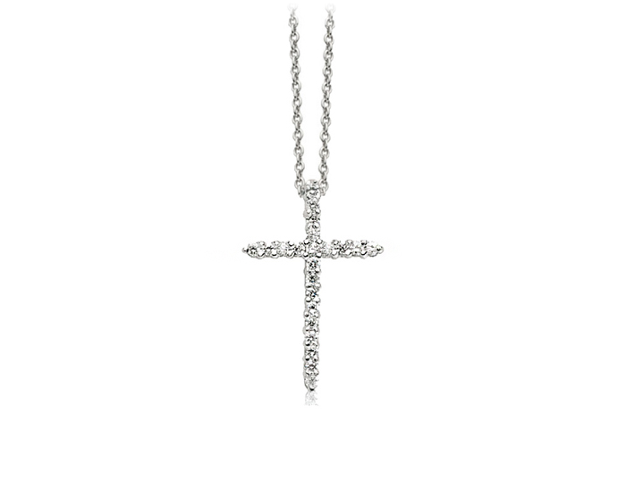 Roberto Coin Tiny Treasures Collection round brilliant cut diamond cross in 18k white gold.