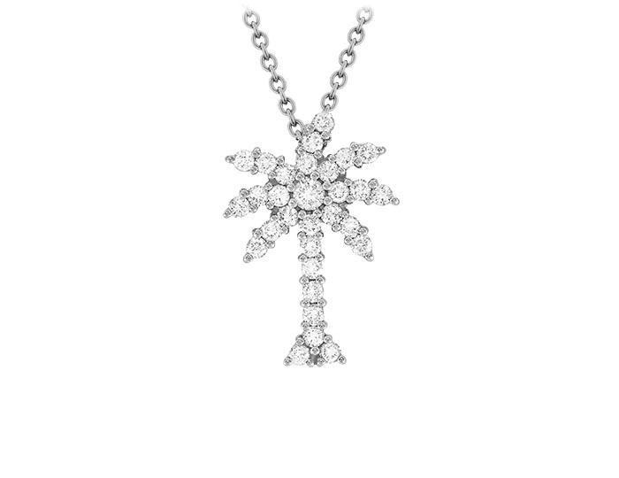 Roberto Coin Tiny Treasures Collection diamond palm tree pendant in 18k white gold.