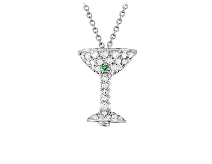 Roberto Coin Tiny Treasure Collection diamond and tsavorite martini pendant in 18k white gold.