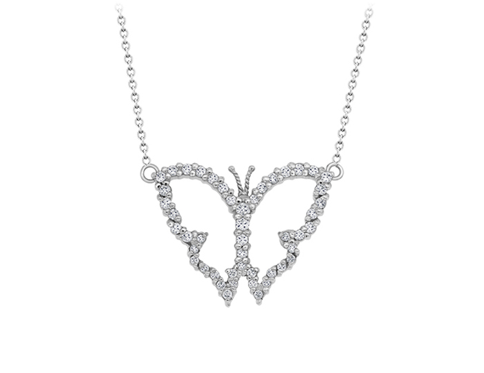 Roberto Coin Tiny Treasures Collection diamond butterfly pendant in 18k white gold.
