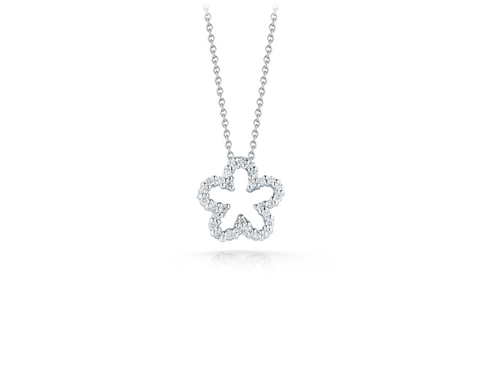 Roberto Coin Tiny Treasure Collection diamond flower pendant in 18k white gold.