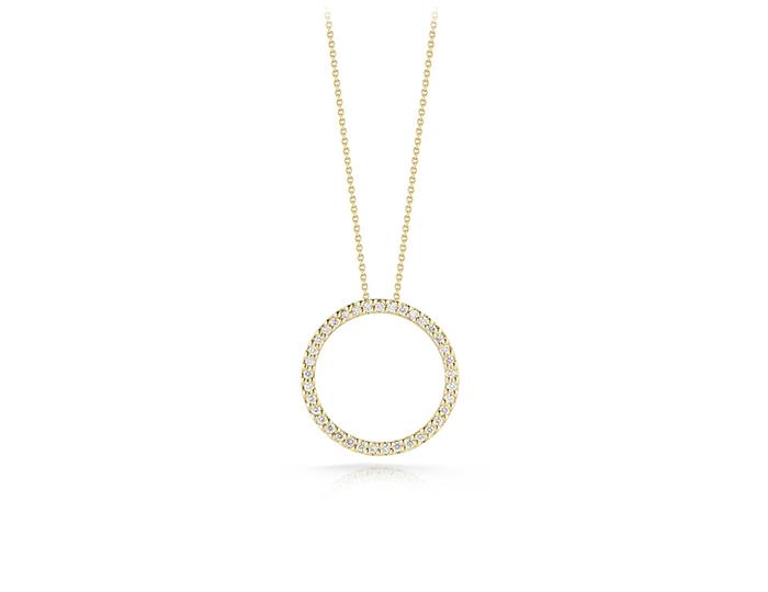 Roberto Coin round brilliant cut diamond Circle-of-Life pendant in 18k yellow gold.