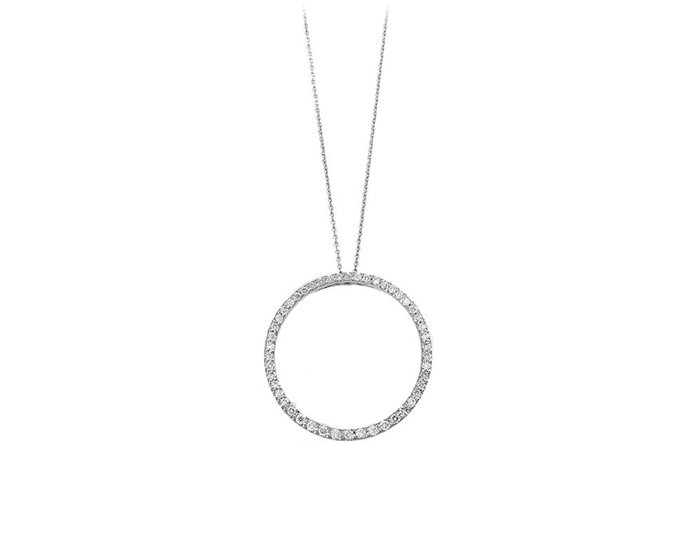 Roberto Coin round brilliant cut diamond Circle-of-Life pendant in 18k white gold.