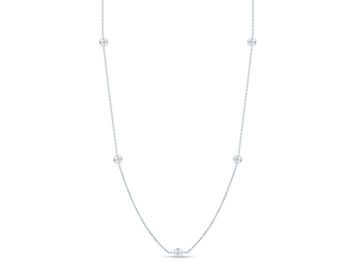 Roberto Coin Diamonds by the Inch Collection diamond bezel necklace in 18k white gold.