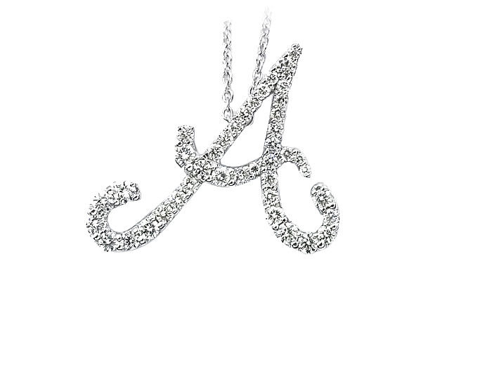 Roberto Coin Tiny Treasures Collection round brilliant diamond initial charm in 18k white gold.