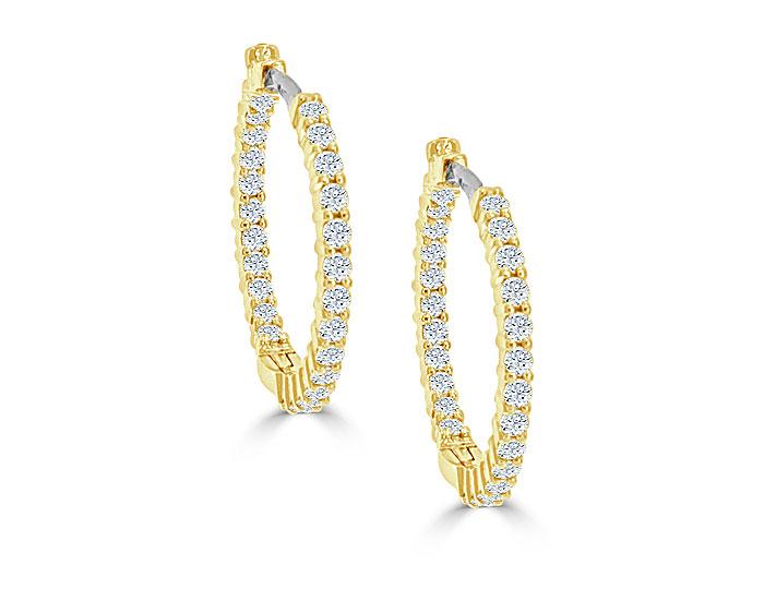Roberto Coin round brilliant cut diamond hoop earrings in 18k yellow gold.