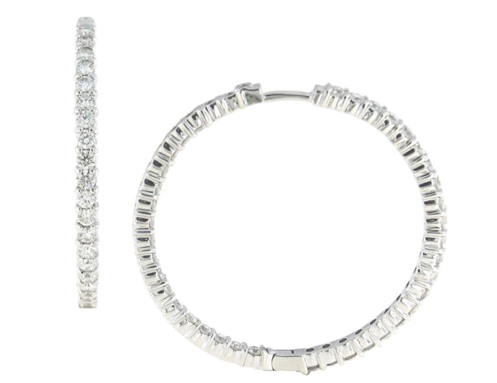 Roberto Coin round brilliant cut diamond hoops in 18k white gold.