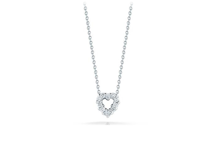 Roberto Coin Tiny Treasures Collection diamond heart pendant in 18k white gold.