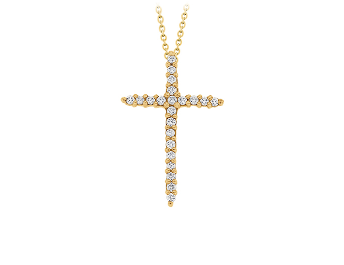 Roberto Coin Tiny Treasures Collection round brilliant cut diamond cross in 18k yellow gold.