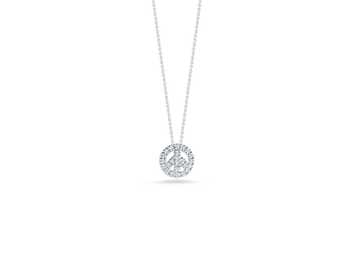 Roberto Coin Tiny Treasures Collection round brilliant cut diamond peace sign pendant in 18k white gold.