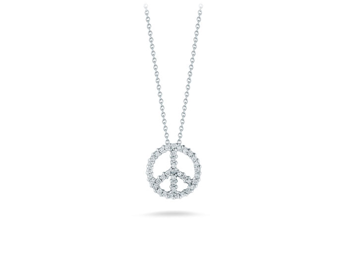 Roberto Coin Tiny Treasures collection peace sign round brilliant cut diamond pendant in 18k white gold.