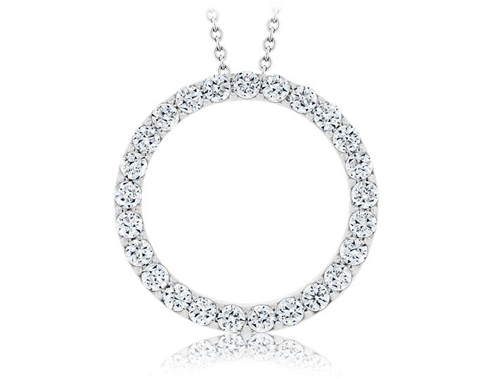 Roberto Coin round brilliant cut diamond Circle-of-Life pendant in 18k white gold.