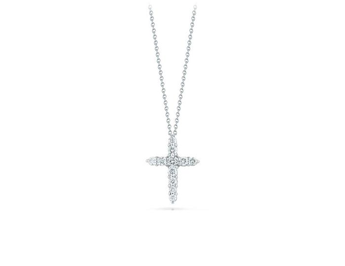 Roberto Coin round brilliant cut diamond cross in 18k white gold.
