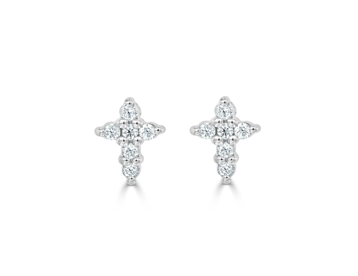 Roberto Coin Tiny Treasures round brilliant cut diamond earrings in 18k white gold.