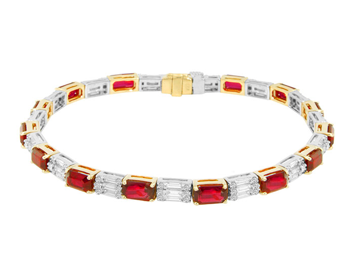 Emerald shape ruby, baguette cut diamond and round brilliant cut diamond bracelet in 18k white and yellow gold.