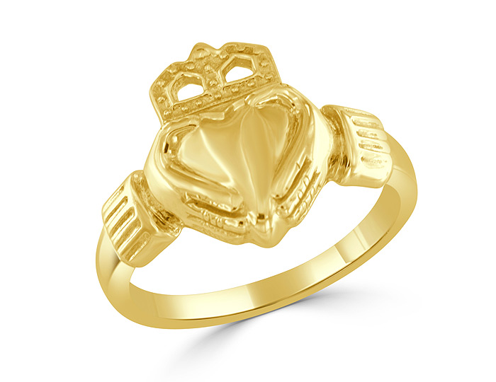 Claddagh ring in 14k yellow gold.