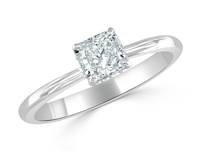 Bez Ambar radiant cut and blaze cut diamond engagement ring in platinum.