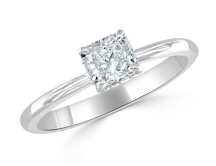 Bez Ambar radiant cut and blaze cut diamond engagement ring in platinum.