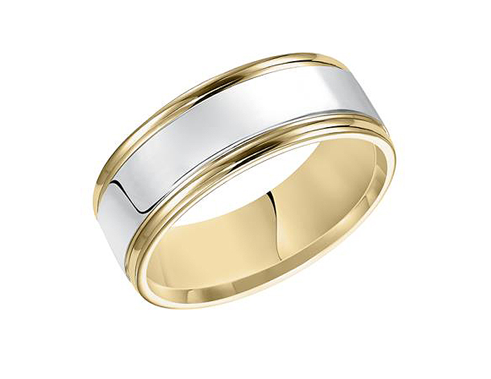 Men's wedding band in platinum and 18k yellow gold.