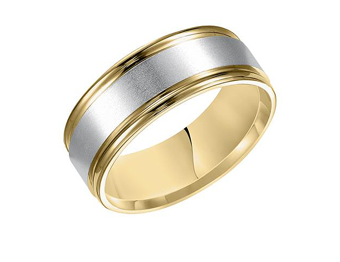 Men's wedding band in 14k white and yellow gold.