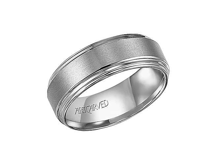 Men's wedding band in tungsten.
