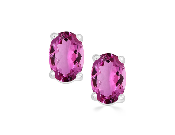 Oval shape pink tourmaline earrings in 14k white gold.
