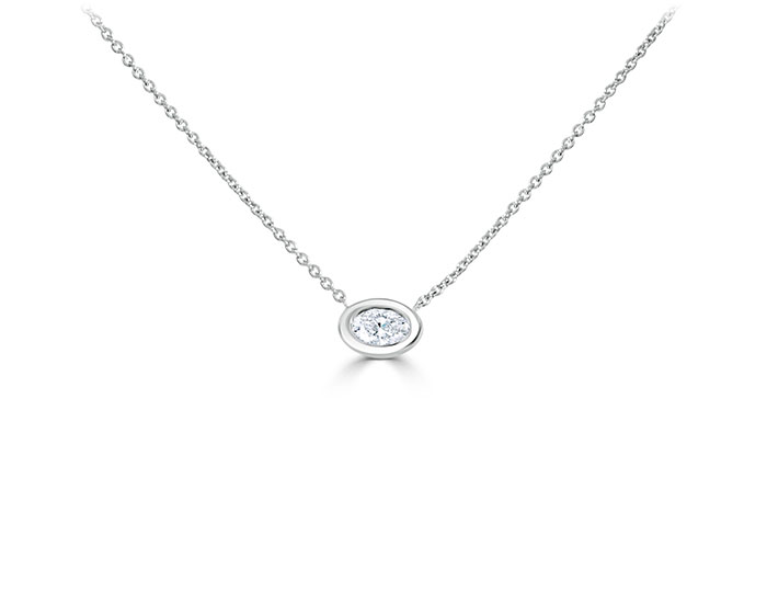Roberto Coin oval cut diamond necklace in 18k white gold.