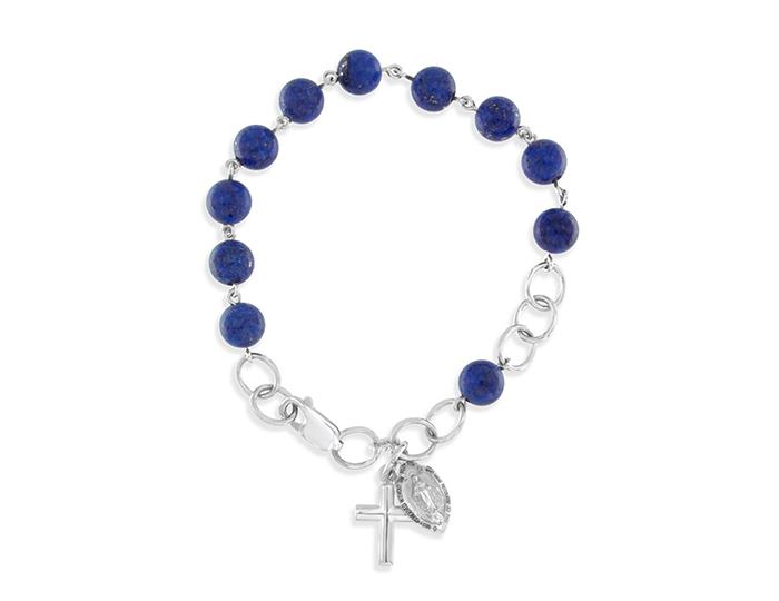 Handmade lapis lazuli rosary bracelet in 18k white gold.