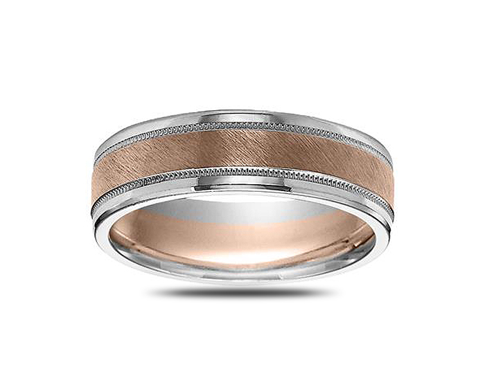 Men's wedding band in 14k rose and white gold.