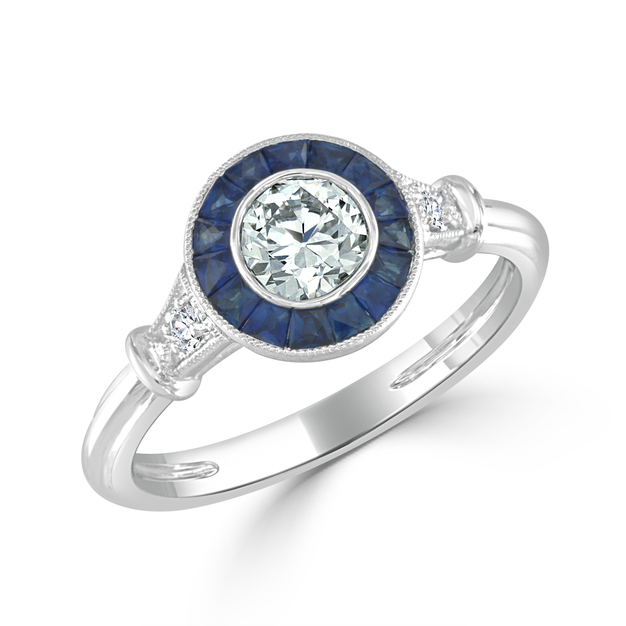 Old European and round brilliant cut diamond and sapphire engagement ring in platinum.