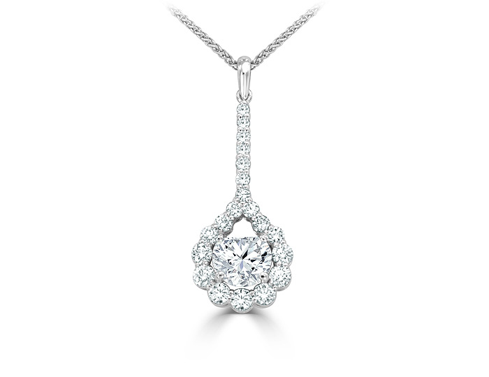 Bez Ambar half-moon cut and round brillliant cut diamond pendant in 18k white gold.