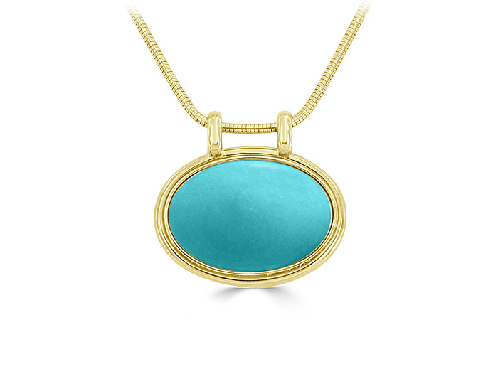 Turquoise pendant in 18k yellow gold.