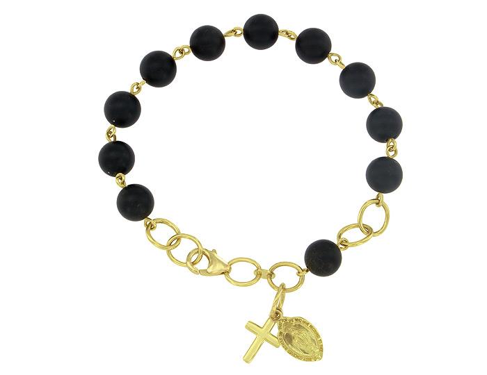 Handmade black onyx rosary bracelet in 18k yellow gold.