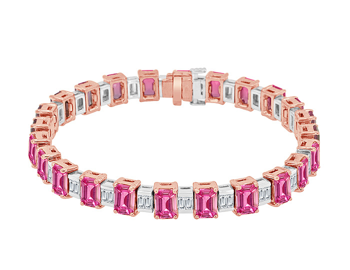 Emerald cut pink sapphire and baguette cut diamond bracelet in 18k rose gold.