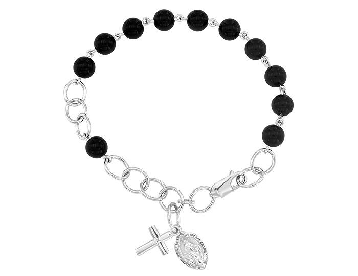 Handmade black onyx rosary bracelet in 18k white gold.