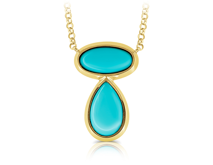 Tourquoise pendant in 18k yellow gold.