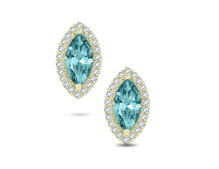 Marquise cut aquamarine and round brilliant cut diamond earrings in 18k rose gold.