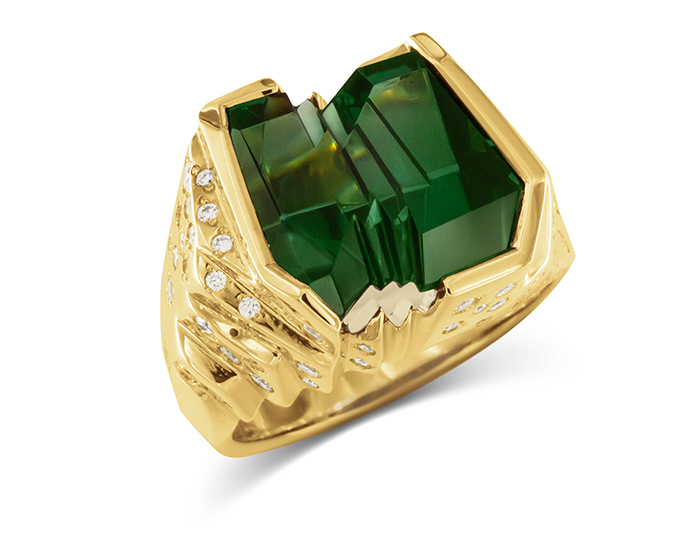 Bernd Munsteiner cut green tourmaline and round brilliant cut diamond ring in 18k yellow gold.