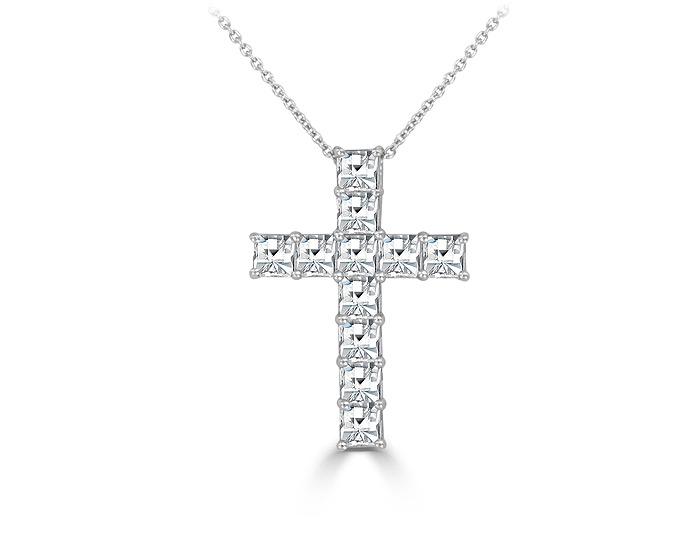 Asscher cut diamond cross pendant in platinum.