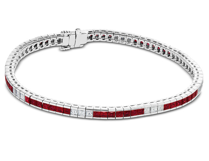Ruby and carre cut diamond bracelet in 18k white gold.