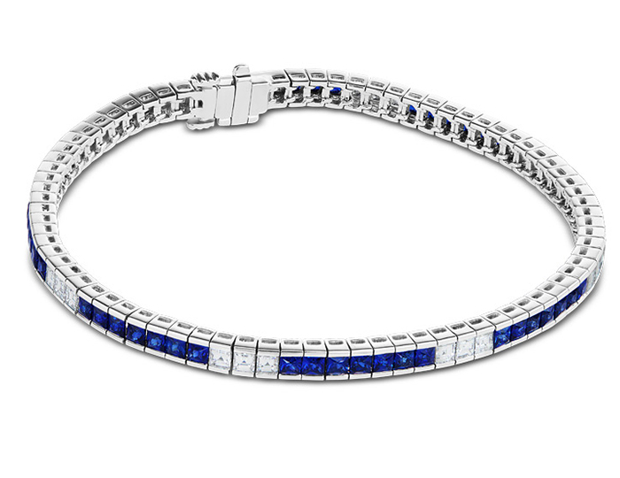Sapphire and carre cut diamond bracelet in 18k white gold.