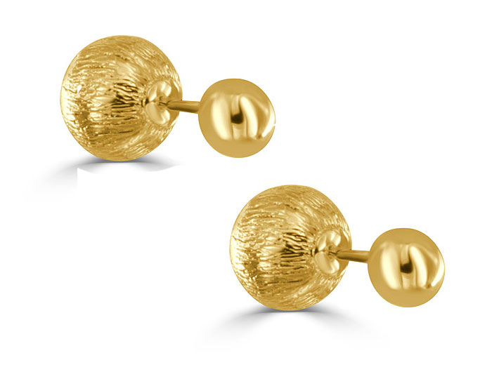 9.0mm Ball stud earring with 15.5mm textured ball jackets in 18k yelllow gold.