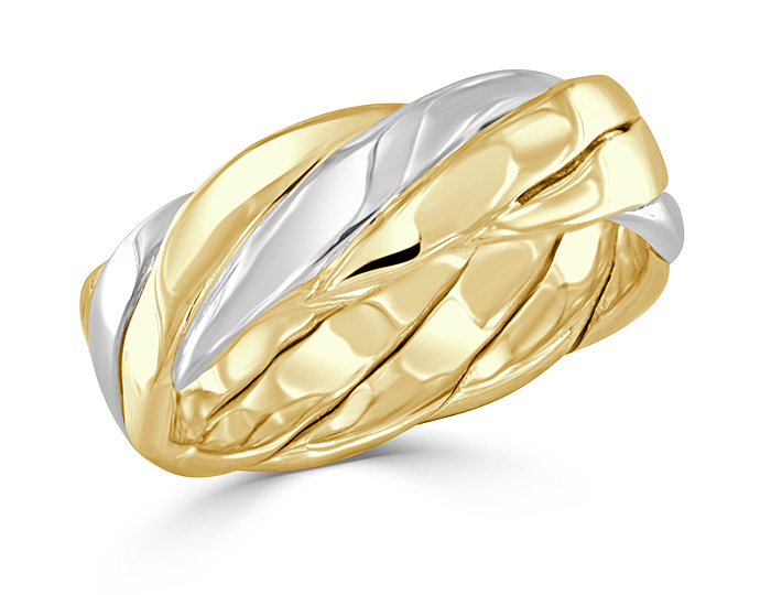 Men's handmande wedding band in 18k white and yellow gold.